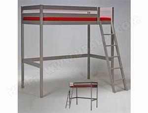 Lit Mezzanine 140x190 : lit mezzanine 140x190 studio 1 sommier gris le quai ~ Melissatoandfro.com Idées de Décoration
