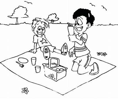 Picnic Coloring Pages Summer Basket Stomach Kid