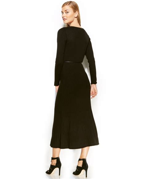 Calvin Klein Dress Long Sleeve Belted Sweater Maxi