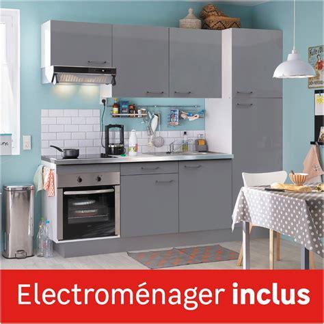 cuisine complete avec electromenager cuisine équipée gris brillant l 240 cm électroménager