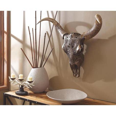 benzara brown aesthetic polyresin bull skull wall decor