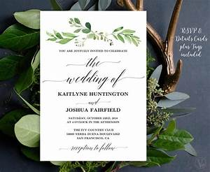 greenery wedding invitation printable garden greenery With greenery wedding invitations free