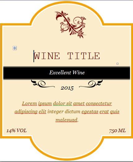 Wine Label Template Free Custom Wine Label Template Word Excel Tmp