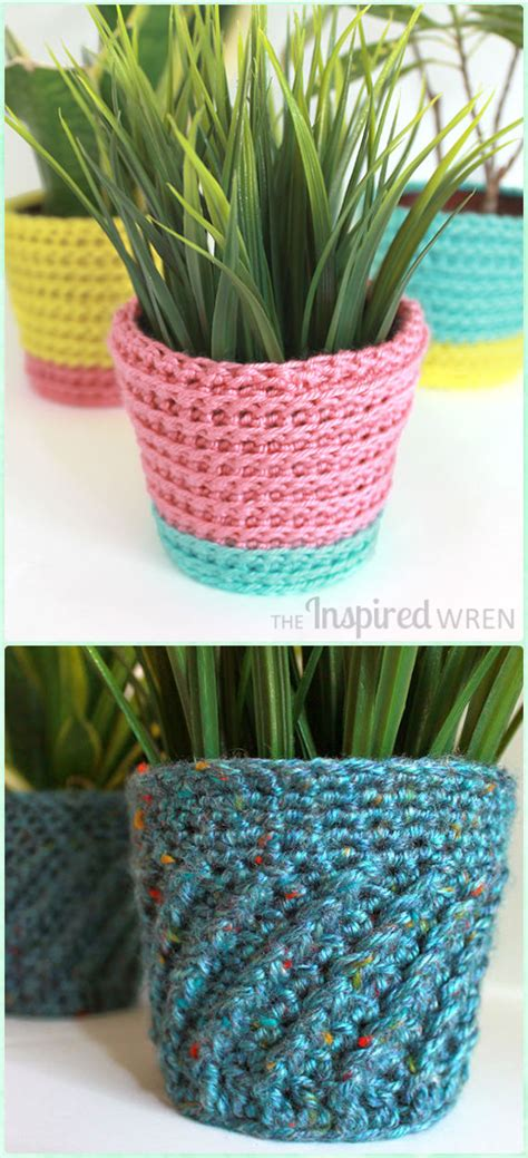 crochet plant pot cozy cover  patterns instructions