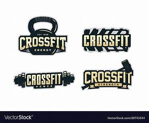Modern professional logo emblem set for crossfit Vector Image