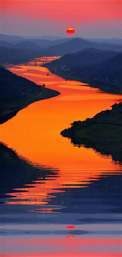 Sunset Gifs Reflection River Person Rhetorical Written
