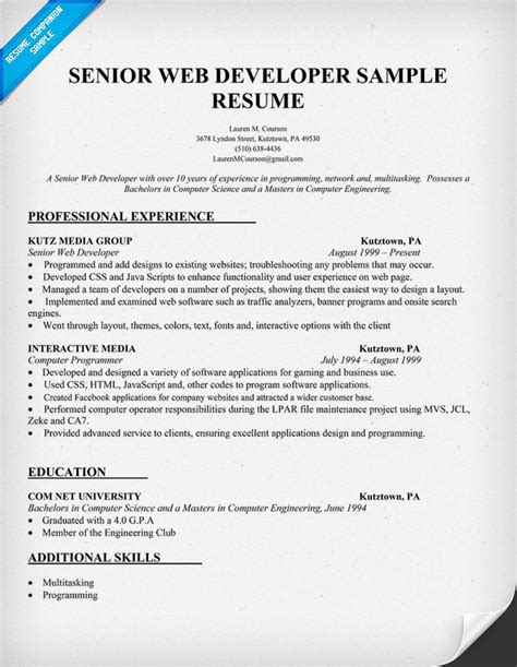 Web Developer Resume Format by Resume Sle Senior Web Developer Http Resumecompanion
