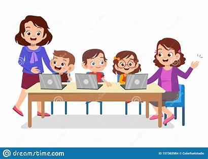 Learning Computer Teacher Cartoon Teaching Class Technology