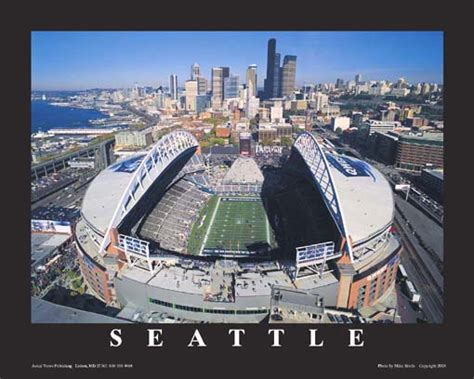 seattle seahawks nfl qwest field aerial photo poster
