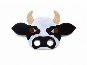 cow bull felt mask farm animal mask kids animal mask With bull mask template