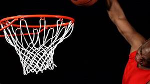 Close Up Of A Basketball Dunk, Slowmotion Stock Footage ...