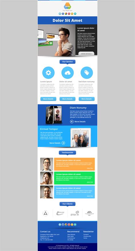 Enewsletter Template Design by Central Responsive Email Newsletter Template Marketing