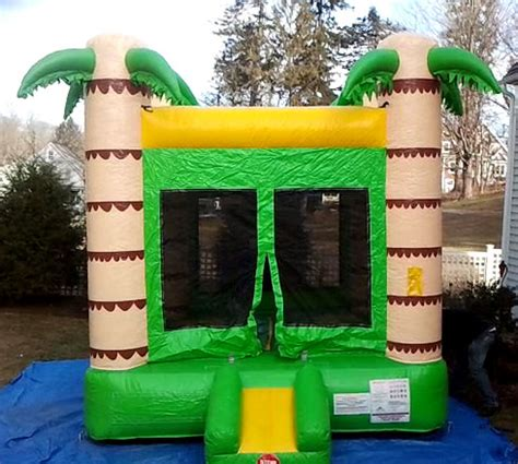 tropical bounce house set up for bowl sunday