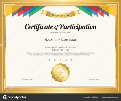certificate templates with photos certificate of participation template with gold border and