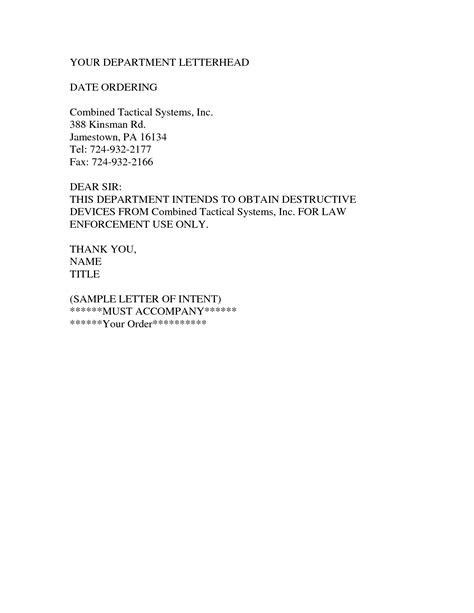 letter  intent  job sample letter
