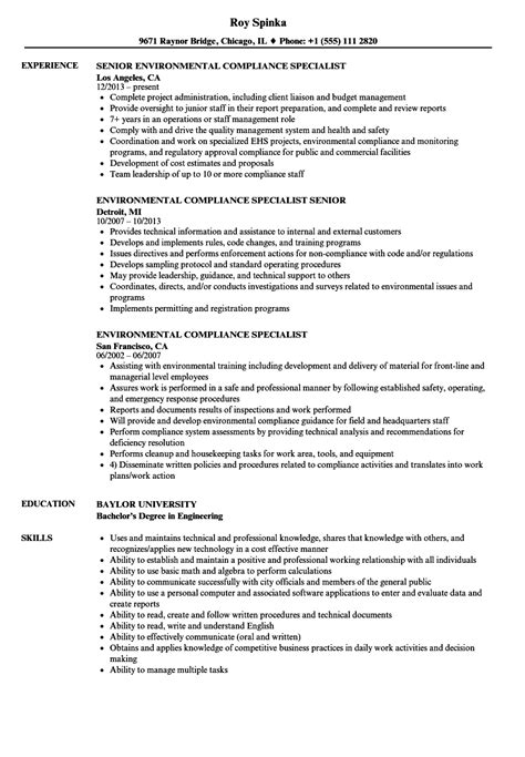Environmental Specialist Resume by Environmental Compliance Specialist Resume Sles