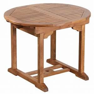 Table Teck Jardin : table de jardin ronde rallonge en teck huil 100 40 x100x75cm ~ Teatrodelosmanantiales.com Idées de Décoration