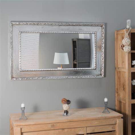 miroir palerme en bois patine argente cm  cm