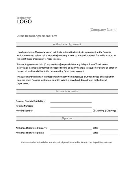 direct deposit form template payrolls office