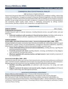 compliance analyst resume format real estate analyst resume exle