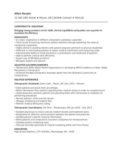 Resume For Chiropractic Assistant chiropractic resume template 6 free word documents