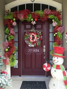 Mesh, Christmas, Garland, Red, Green, And, Candy, Cane, Stripes, Christmas, Door, Christmas, Door, Garland