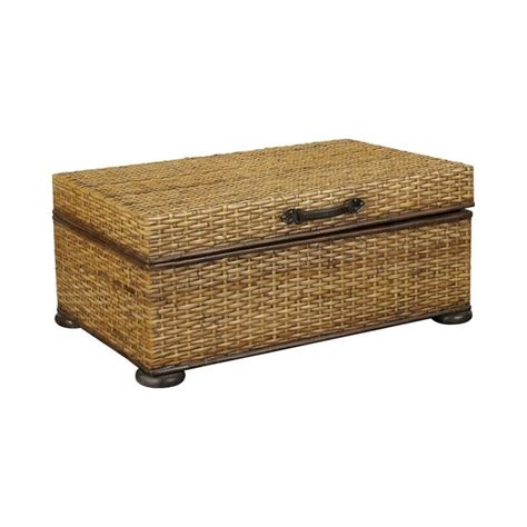 distressed trunk coffee table hammary hidden treasures woven rattan trunk coffee table