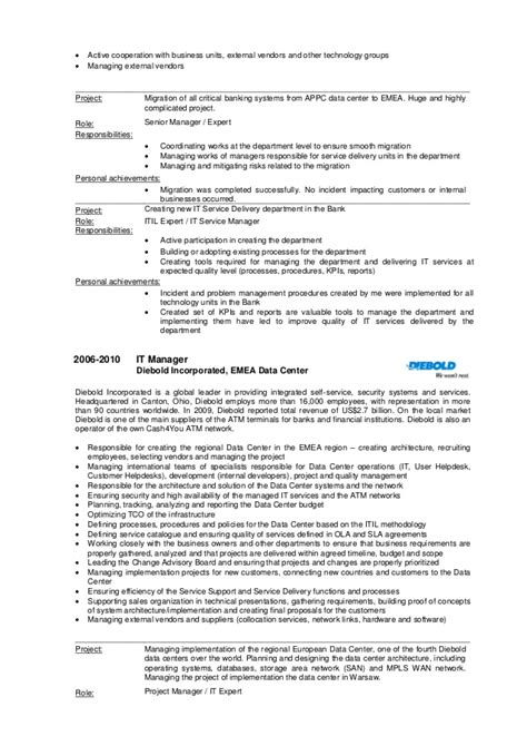 data center relocation project manager resume