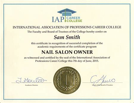 Certificate Programs Free by Nail Salon Owner Certificate Course