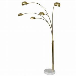 five arm mid century modern floor lamp in brass with white With modern 5 arm floor lamp