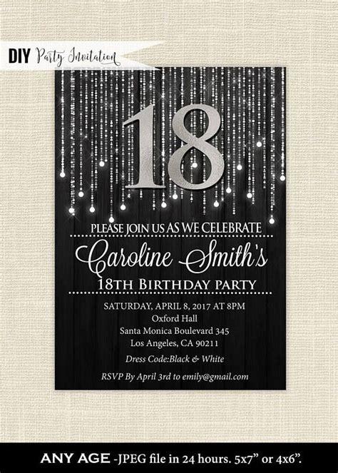 black  silver  birthday invitations elegant