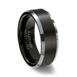 titanium mens wedding band brushed black tungsten ring polished beveled band