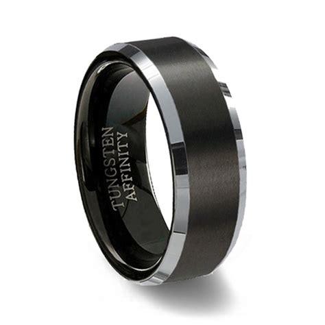 brushed black tungsten ring polished beveled band