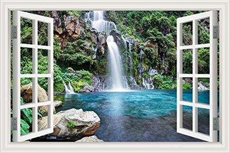 wall sticker decor window view waterfall wall decals