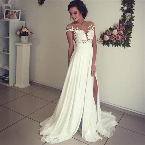 Boho Beach Wedding Dresses Lace Appliques Chiffon Wedding
