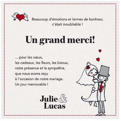 exemple texte remerciement mariage humoristique carte lunch remerciements dessin mari 233 s liser 233