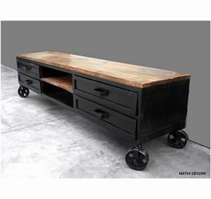 Meuble Bar Industriel : meuble tv industriel sur roues ~ Teatrodelosmanantiales.com Idées de Décoration