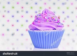 Blue Purple Cupcake Whipped Cream Sprinkles Stock Photo ...