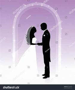 Black And White Silhouettes Of A Groom And A Bride Holding ...