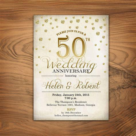50th Wedding Anniversary Invitation / Gold / White / Retro
