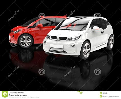 small cars black red and white small cars on black background stock