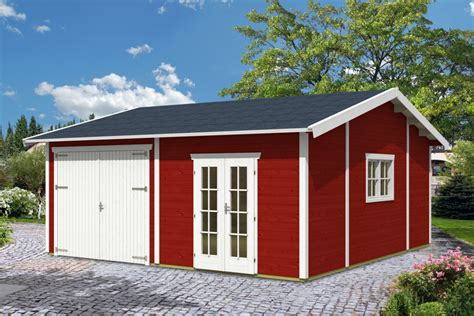 Garage Skanholz «mora 2» Doppelgarage (45 Mm) Holzgarage