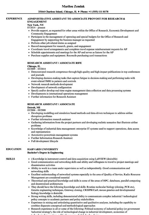 Research Associate Resume by Research Assistant Associate Resume Sles Velvet