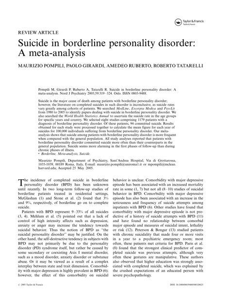 suicide  borderline personality disorder  meta