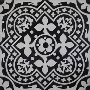 Fliesen Schachbrett Schwarz Weiss : zementfliese serie arte blattornament schwarz wei von replicata 300 x 300 x 20 mm replikate ~ Markanthonyermac.com Haus und Dekorationen
