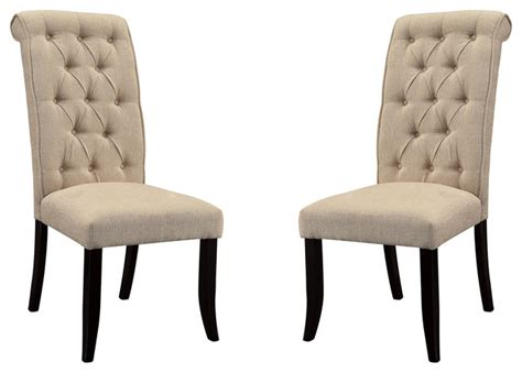 ivory fabric dining side chairs with button tufted backs