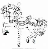 Horse Coloring Pages Carriage Miniature Carousel Pony Getcolorings Printable sketch template