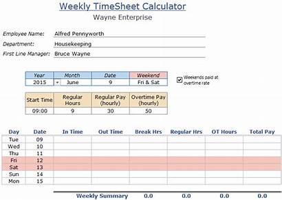 Excel Timesheet Template Employee Calculator Lunch Weekly