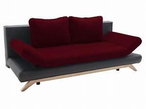 alaska tissu rouge et pu noir vente de banquette bz With tapis rouge avec lit rabattable avec canapé intégré