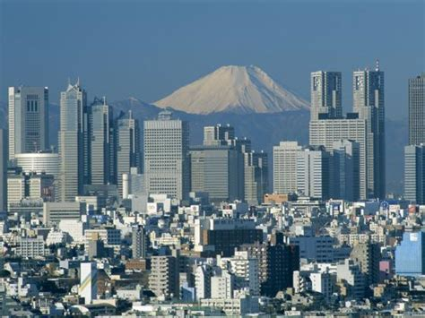 mount fuji  city skyline tokyo honshu japan